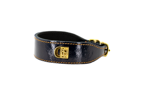 D&H Navy Patent Dog Collar