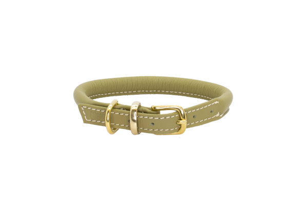 D&H Olive Rolled Leather Dog Collar