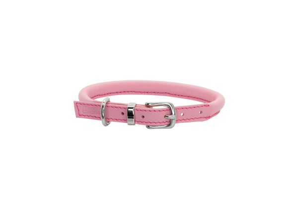 D&H Pink Rolled Leather Dog Collar