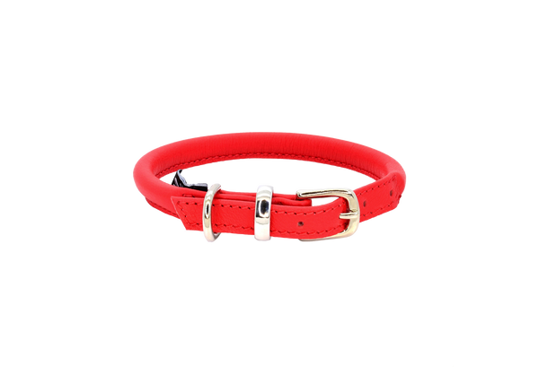 D&H Red Rolled Leather Dog Collar