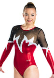 Ervy Sienna Long Sleeved Leotard (Light Red, Silver and Black)