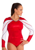 Ervy Mila Long Sleeved Leotard (Red, Graphite and White)