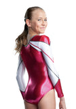 Ervy Mila Long Sleeved Leotard (Pomegranate, Graphite and White)