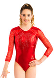 Ervy Mila 3/4 Sleeved Leotard (Light Red and Silver)