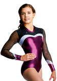 Ervy Santina Long Sleeved Leotard (Aubergine, Silver and Black)