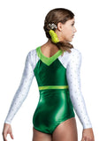 Ervy Lia Leotard (Green and White)