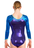 Ervy Addison 3/4 Sleeved Leotard (Violet, Royal Blue and Caribbean Blue)