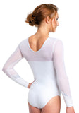 Ervy Elina Long Sleeved Leotard (White)