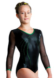 Ervy Fabia Long Sleeved Leotard (Black and Green)