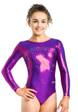 Ervy Susan Long Sleeved Leotard (Plum and Grapefruit)