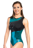 Ervy Ebony Leotard (Petrol and Black)