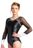 Ervy Zara Long Sleeved Leotard (Black and White)