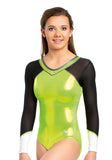 Ervy Zara Long Sleeved Leotard (Kiwi Green and Black)