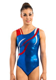 Ervy Flame Leotard (Royal Blue, Light Red and Silver)