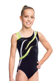 Ervy Flame Leotard (Black, Kiwi and Silver)