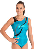 Ervy Flame Leotard (Caribbean Blue, black and Silver)