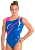 Ervy Flame Leotard (Royal Blue, Pink and Silver)