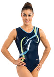 Ervy Flame Leotard (Ink, Light Blue, Kiwi and Silver)