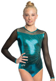 Ervy Ginger Long Sleeved Leotard (Petrol and black)