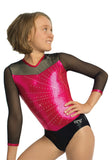Ervy Ginger Long Sleeved Leotard (Pink and Black)