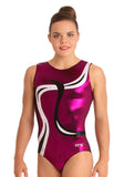 Ervy Lyra Leotard (Aubergine, Black and Silver)