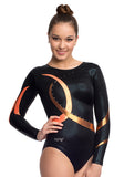 Ervy Borealis Long Sleeved Leotard (Black, Copper and Orange)