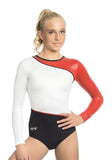 Ervy Atria Long Sleeved Leotard (Black, White and Light Red)