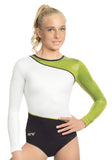 Ervy Atria Long Sleeved Leotard (Black, Kiwi and White)