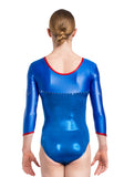 Ervy Altair Long Sleeved Leotard (Royal Blue and Light Red)