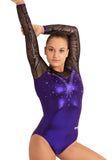 Ervy Alya Long Sleeved Leotard (Violet, Black and Silver)
