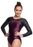 Ervy Sherata Long Sleeved Leotard (Amethyst, Black and Silver)