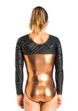 Ervy Sherata Long Sleeved Leotard (Copper, Gold and Black)