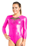 Ervy Orion 3/4 Sleeved Leotard (Party Pink and Black)