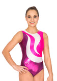 Ervy Bella Leotard (Aubergine, White, Silver and Fuchsia)
