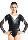 Ervy Naliah Long Sleeved Leotard (Black, White and Silver)