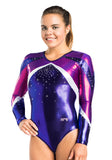Ervy Audrey Long Sleeved Leotard (Orchid, Plum and Silver)