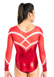 Ervy Phoebe Long Sleeved Leotard (Light Red and White)