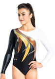 Ervy Hekla Long Sleeved Leotard (White, Black, Gold and Copper)