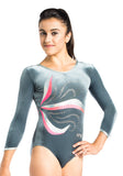 Ervy Camille 3/4 Sleeved Leotard (Silver and Coral)
