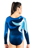 Ervy Hiroko Long Sleeved Leotard (Ink, Royal Blue and Light Blue)