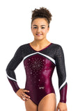 Ervy Sakura Long Sleeved Leotard (Dark Amethyst, Black, Silver and White)