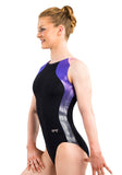 Ervy Keona Leotard (Black, Violet and Bubblegum Pink)