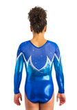 Ervy Lumira Long Sleeved Leotard (Caribbean Blue, Marine Blue, Royal Blue and Silver)