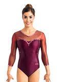 Ervy Tenoba 3/4 Sleeved Leotard (Dark Amethyst, Bordeaux and Altrosa)