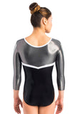 Ervy Hanya 3/4 Sleeved Leotard (Black, Graphite and White)