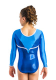 Ervy Nigue Long Sleeved Leotard (Royal Blue, Azure and Silver)