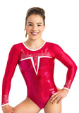 Ervy Cody Long Sleeved Leotard (Pomegranate, Fire and White)