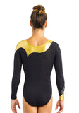 Ervy Avelina Long Sleeved Leotard (Black and Gold)