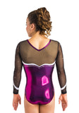 Ervy Aziza Long Sleeved Leotard (Aubergine, Black and White)