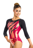 Ervy Athea 3/4 Sleeved Leotard (Black and Lipstick Pink)